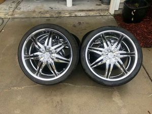 """22"""" chrome Pasati rims with tires. Tires like new. Rims could use a good cleaning. 2 center pieces missing for Sale in CARNES CROSSROADS, SC"""