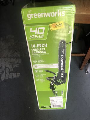 $100 Green works 14 inch Cordless Chainsaw New for Sale in Conyers, GA