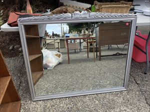 Large Solid Wood Bow Detail Mirror, Painted Silver for Sale in Edgewood, WA