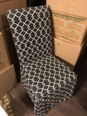 Black and white lattice desk chair on wheels rolling for Sale in San Francisco, CA