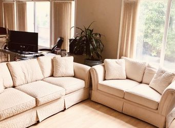 CONTEMPORARY OVERSTUFFED IVORY UPHOLSTERY SOFA & LOVESEAT Dimensions 63 x 36 x 28 and 87 x 36 x 28 for Sale in San Diego,  CA