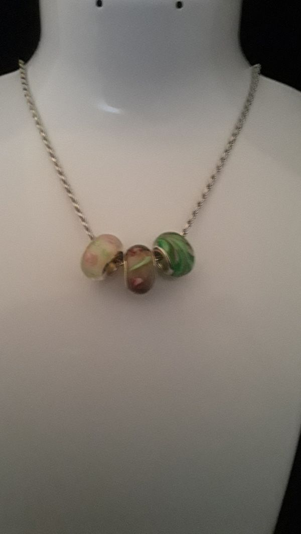 THREE 925 STERLING SILVER MURANO GLASS BEADS PINK GREEN NECKLACE BRACELET CHARM #3