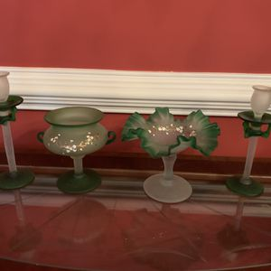Beautiful Set Of Frosted Glass Servware for Sale in Marietta, GA