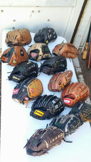 Outfield baseball and softball gloves . Prices as marked for Sale in Houston, TX