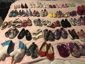 Girls shoes ranging from newborn to toddler size 7 for Sale in Shakopee, MN