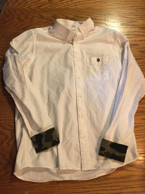 BAPE button up white shirt with a brown ape logo embroidered on chest pocket and camo accents size XL for Sale in Portland, OR
