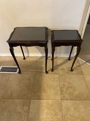 Antique Style End Tables Glass Tops for Sale in Valencia, CA