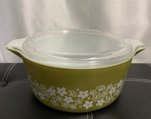 Pyrex Bowl 475-B 2 1/2 Qt Crazy Daisy Spring Blossom Avocado Green White with Lid for Sale in Honolulu, HI