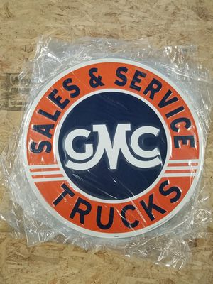 Huge gmc trucks sales service embossed metal sign for Sale in Vancouver, WA