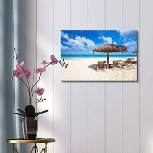 ((FREE SHIPPING)) chairs and umbrella on a beautiful tropical beach at anguilla, caribbean sea Painting like print for Sale in Atlanta, GA