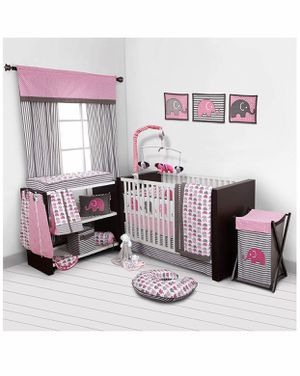 Bacati - Elephants Pink/Grey 10-Piece Nursery in a Bag Girls Crib Baby Bedding Set with Bumper Pad for Sale in East Point, GA