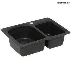 Swan Drop-In/Undermount Solid Surface 25 in. 1-Hole 60/40 Double Bowl Kitchen Sink in Black Galaxy for Sale in Dallas,  TX