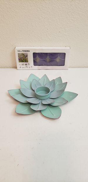 Lotus Flower Metal Tealight Candle Holder With 10 New Purple Candles (Santa Rosa) for Sale in Santa Rosa, CA