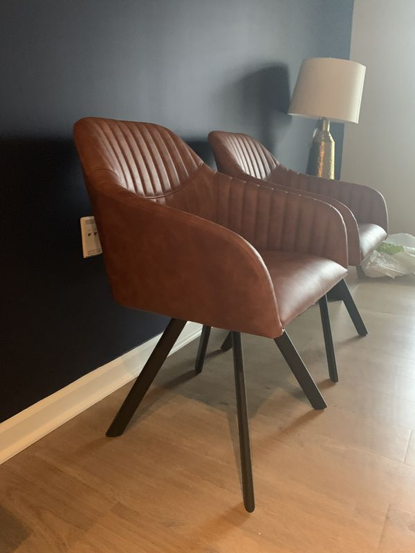 Cognac brown faux leather accent chairs — perfect for your living room!