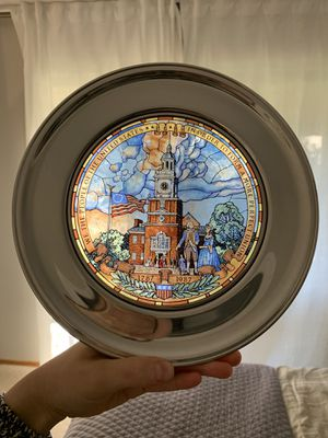 Antique Pewter Stained Glass US Historic Plate by Jack Woodson for Sale in East Wenatchee, WA