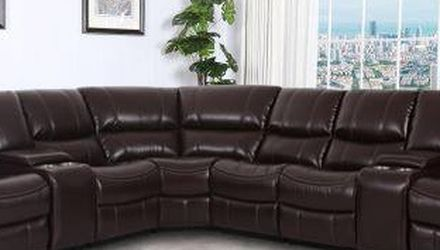 NEW MADRID SECTIONAL SOFA WITH THREE RECLINERS BROWN OR GRAY ONLY $1499 NO CREDIT CHECK OR ONE YEAR DEFERRED INTEREST FINANCING AVAILABLE for Sale in Clearwater,  FL