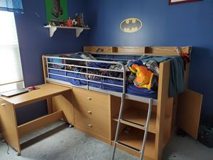 Twin loft bed with desk, three drawers, and storage for Sale in Round Lake Heights, IL