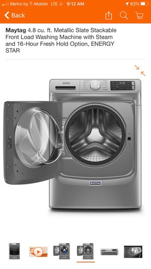 4.8 cu. ft. Metallic Slate Stackable Front Load Washing Machine with Steam and 16-Hour Fresh Hold Option, ENERGY STAR for Sale in Menifee, CA