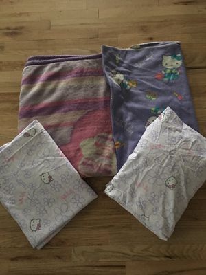 Hello kitty twin sheets and 2 blankets for Sale in Fairview, OR