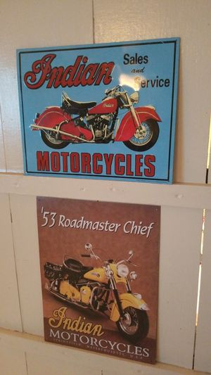 Indian Motorcycles Tin signs Decoration X 2 for Sale in Whittier, CA
