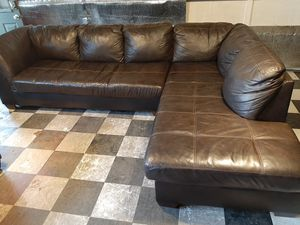 Gorgeous real leather sectional couch for Sale in Renton, WA