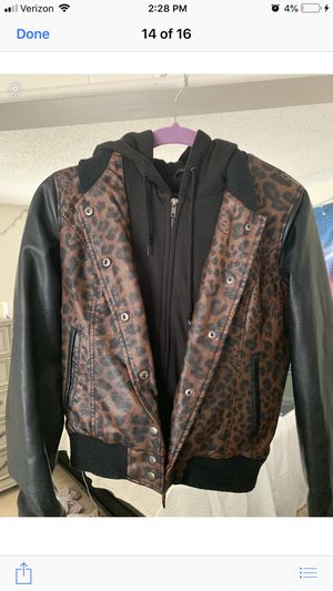 Obey Cheetah Leather Jacket w/ Hoodie for Sale in Burlington, MA