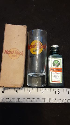 Hard Rock San Diego tall shot glass collectible. Comes with bonus miniature Jagermeister refillable glass canteen bottle for Sale in North Las Vegas, NV