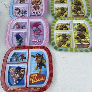 Kids Divided Plastic Plates - Trolls, Ninja Turtles, Paw Patrol for Sale in Long Beach, CA