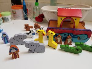 wooden toys moans arc 15 pcs used. Great for collection or decorations. for Sale in Somers Point, NJ