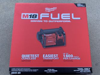 Milwaukee M18 FUEL 18-Volt Lithium-Ion Brushless Cordless 2 Gal. Electric Compact Quiet Compressor (Tool-Only) 2840-20 Price is firm at $280 picked up for Sale in El Monte,  CA
