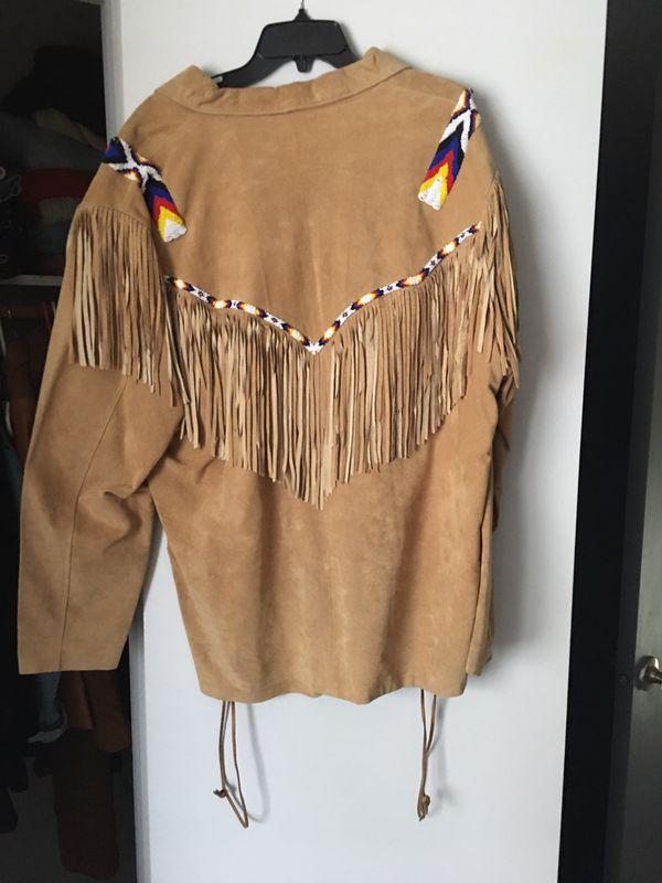 Leather fringe beaded Indian shirt