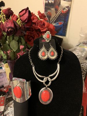 New 4pc set color silver with red stones for Sale in Orange, CA
