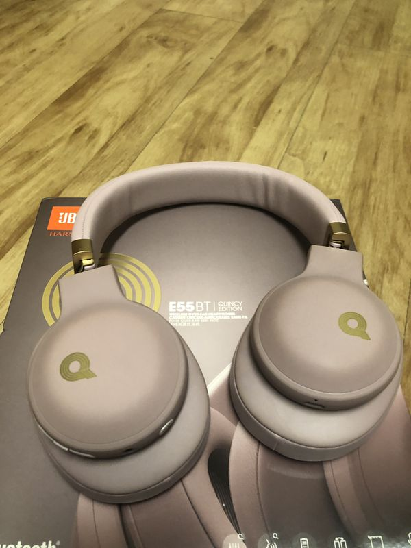 JBL E55BT Quincy Edition Wireless Over-Ear Headphones with One-Button Remote and Mic (Rose Gold)