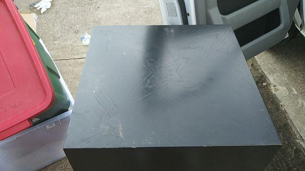 2 black block end tables