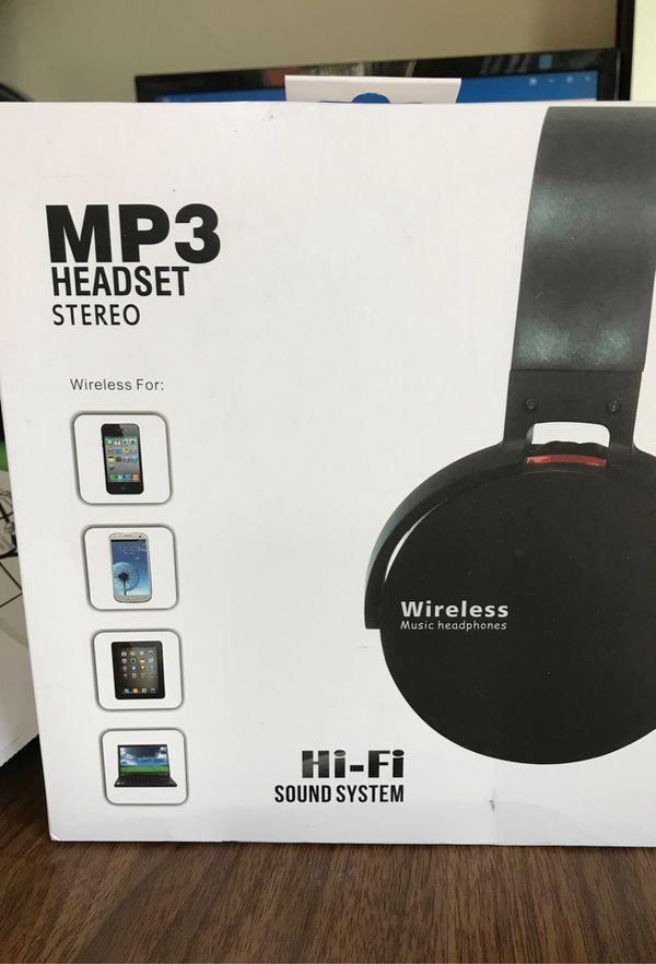 MP3 wireless stereo headset music headphones unused