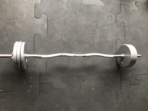 Standard weights(60Lbs) & Curl bar for $60 Firm!!! for Sale in Burbank, CA