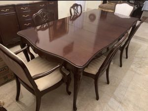 Antique dining set french Louis, table chairs buffet sideboard China cabinet display. Mesa for Sale in Fort Lauderdale, FL
