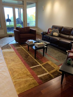 Contemporary almost new hundred percent wool and silk rug. for Sale in Portland, OR