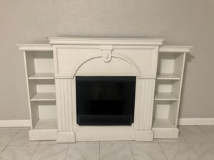 Fax fireplace with insert and adjustable bookshelves for Sale in Tampa, FL