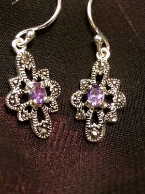 SPECIAL PRICE REDUCTION!! SS Drop Amethyst Earrings with Diamond CZ for Sale in Raleigh, NC