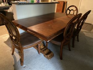 Large Wooden Table with Leaf & 4 Chairs for Sale in North Las Vegas, NV