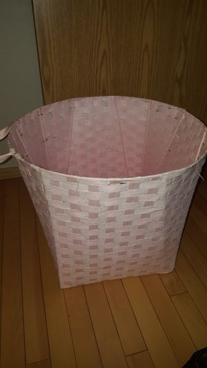 16.5 inches tall wicker Soft pink basket for Sale in Vancouver, WA