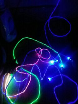 5 Magnetic LED USB Cords/micro USB, Type C, Iphone + Aux To Aux, Reg. Type C, Cable Decorations and Carry Bag. 7 Cords for Sale in St. Helens,  OR