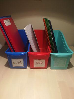 Storage book, notebook, folder, plastic bins set of three for Sale in Hialeah, FL