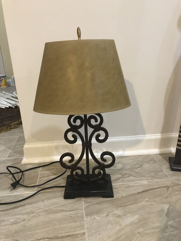 wrought iron Antique table lamp very heavy