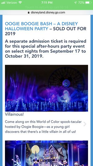 3 Disney Halloween Party Tickets for Sale in Sunnyvale, CA