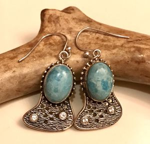 Gorgeous Larimar Sterling Silver Dangling Earrings with Simulated Diamonds for Sale in Baldwin Park, CA