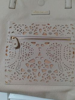 Beige Under One Sky Brand Leather Purse With Burn Out Design for Sale in Shoreline,  WA