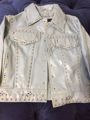 Sky Blue multi color Studded Leather Jacket for Sale in Pittsburgh, PA