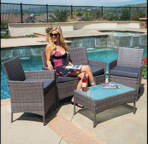 4pc Patio Table & Pool Chairs Wicker Furniture Outdoor Rattan Sofa Garden Conversation Backyard Set For Swimming Pool Lounging by The Bar for Sale in Atlanta, GA